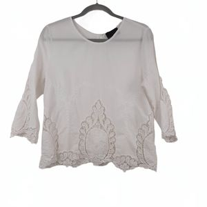 CYNTHIA ROWLEY Lace Embroidered Button Top White
